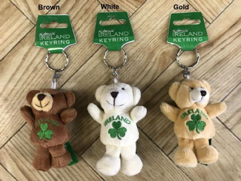 Bear with shamrock keyring